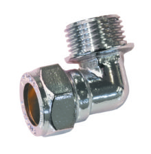 Male Elbow Compression Chrome Plated Brass