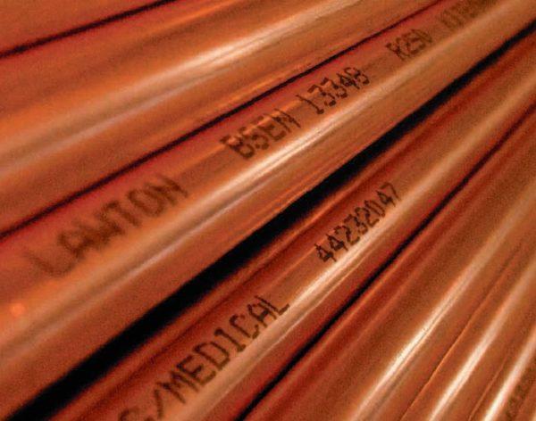 Tubo de cobre desengordurado de grau médico